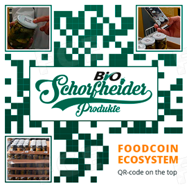 Jars of German organic products marked with FOODCOIN QR-code